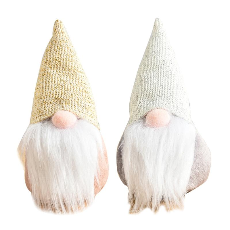 Hecho a mano sin rostro Gnome Tomte Adornos de Navidad de Santa juguete de la muñeca del partido decoración del hogar de Gracias regalos del día
