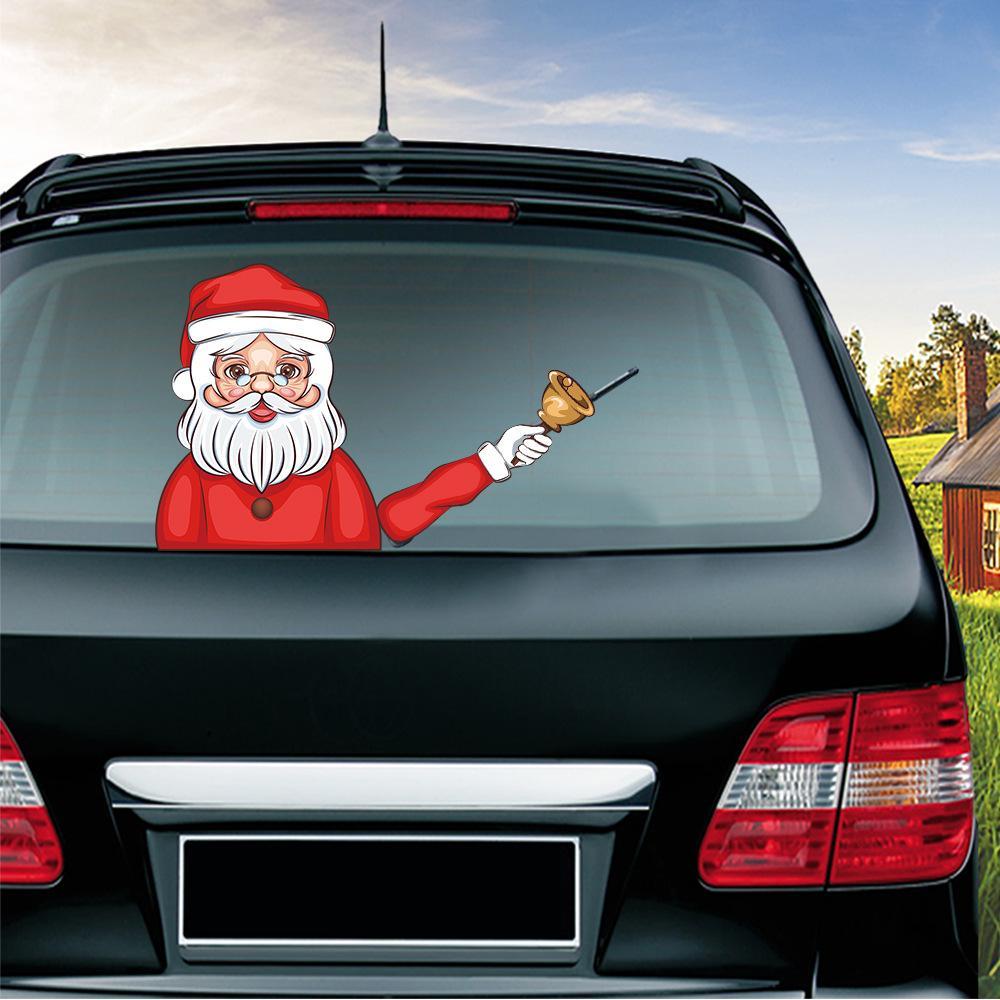 سلسلة عيد الميلاد ملصقات السيارات سحر عيد الميلاد سانتا كلوز يلوحون الأيل عيد الميلاد الزجاج الأمامي ملصق السيارة الخلفي الزجاج ممسحة ملصقات VT1623