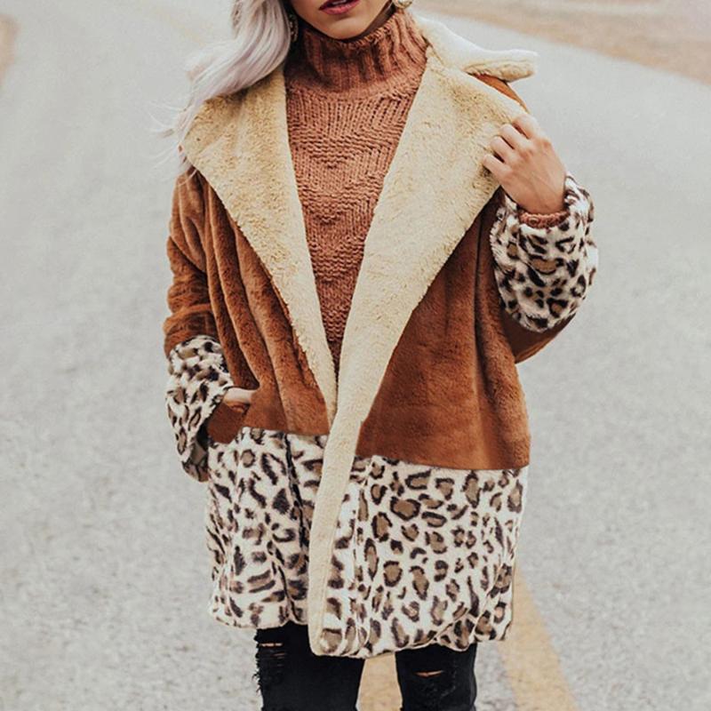 Leopard Patchwork Mulheres Moda casaco quente Autumn lapela Plush revestimento do revestimento das mulheres Plus Size Overcoat mangas compridas Hot Sale
