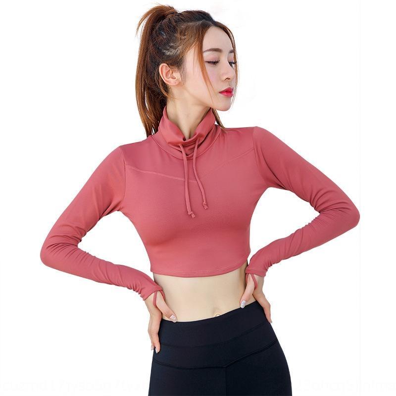 GTmHH йога короткие с длинными рукавами плотно пупа женская одежда Top йога suitlace вверх укладки воротник спортивный топ фитнес Новая одежда dSLd8