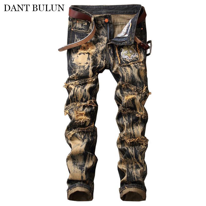 Jeans droites hommes Distressed trou Denim Pantalons pour hommes Hombre Hip Hop Designer Tiger Pactwork Pantalon Streetwear Plus Size Hommes