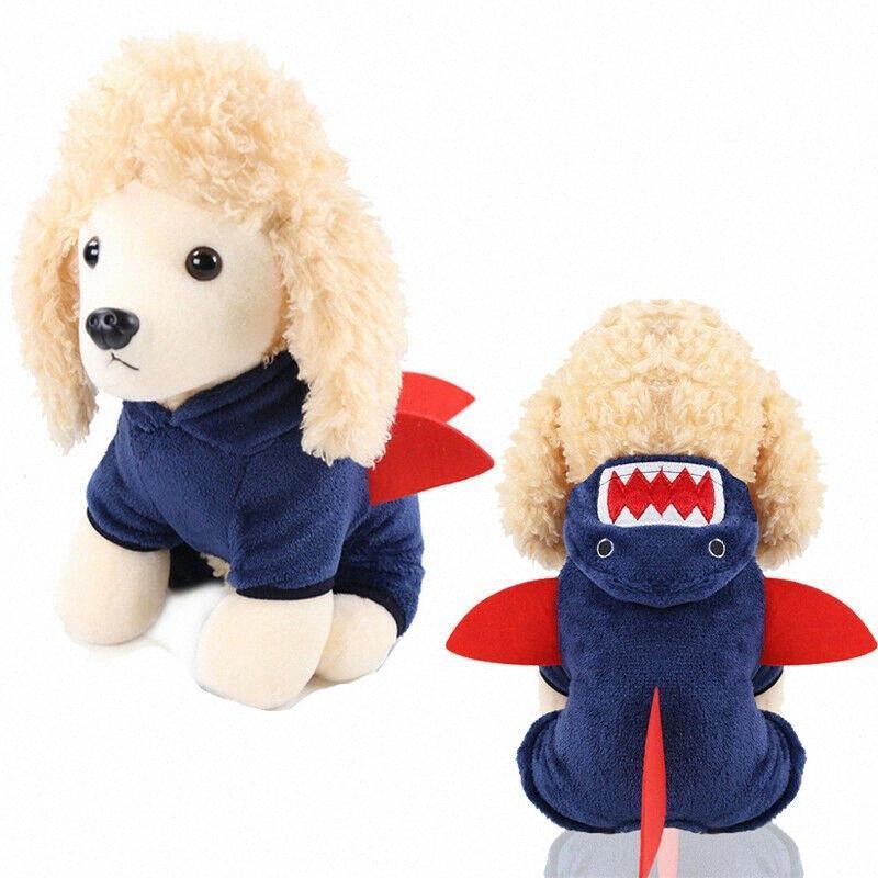 XS-L del animal doméstico del perro de dibujos animados Shark Animales Disfraces de invierno cálida lana de perrito del animal doméstico de la capa Disfraces Ropa kKJf #
