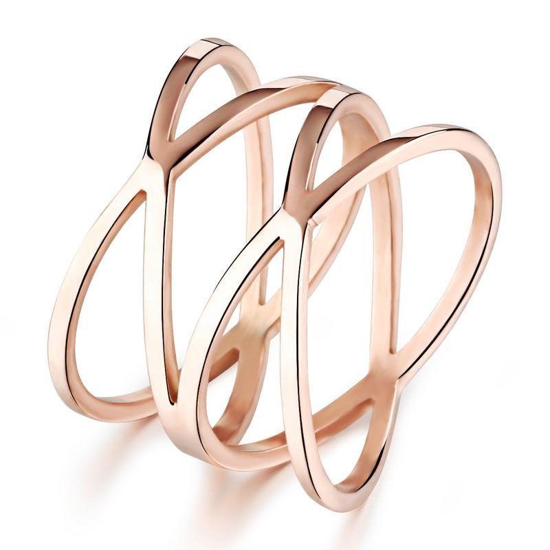 Oro Rosa Cruz X Doble estéreo envolvente joyería anillo hueco para las mujeres femenina adolescente de moda Moda de acero inoxidable