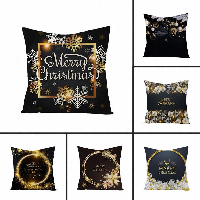 mling 1pcs 45x45cm Cuscino di Natale d'oro fiocco di neve Serie copertura di lino ammortizzatore della vita o un'immagine P3IV decorativo #