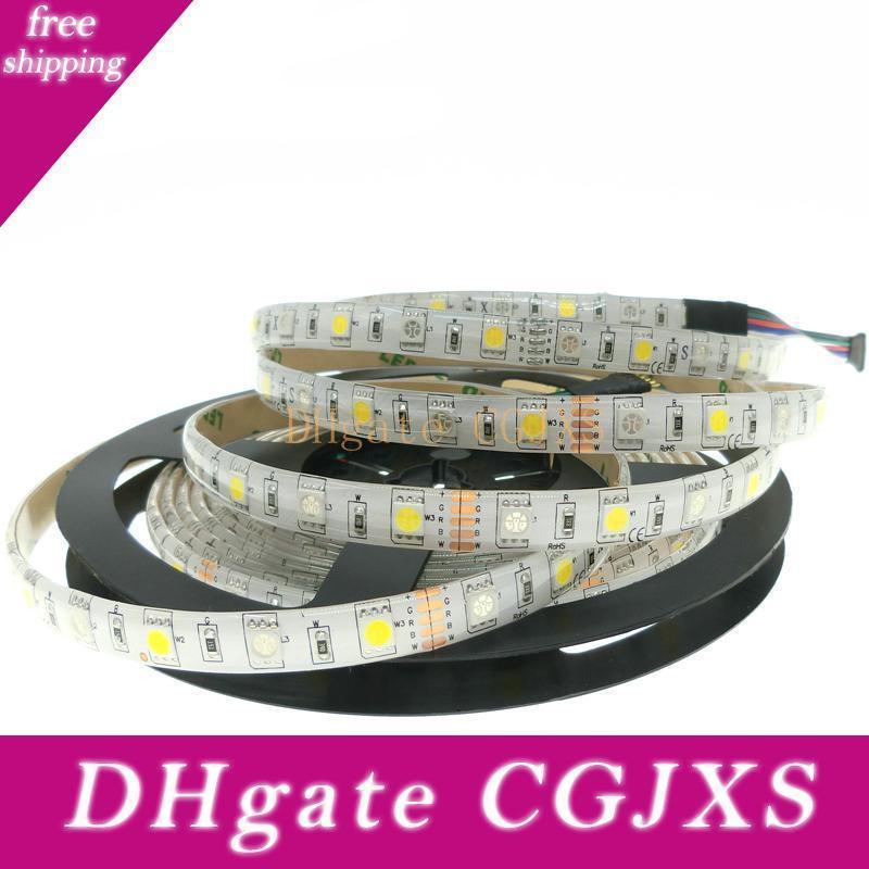 Férias iluminação LED Faixa de 5050 RGBW DC12v 60LED / M 5m / Lot Rgb + Branco / RGB + Aqueça tiras brancas flexível levou luz LED