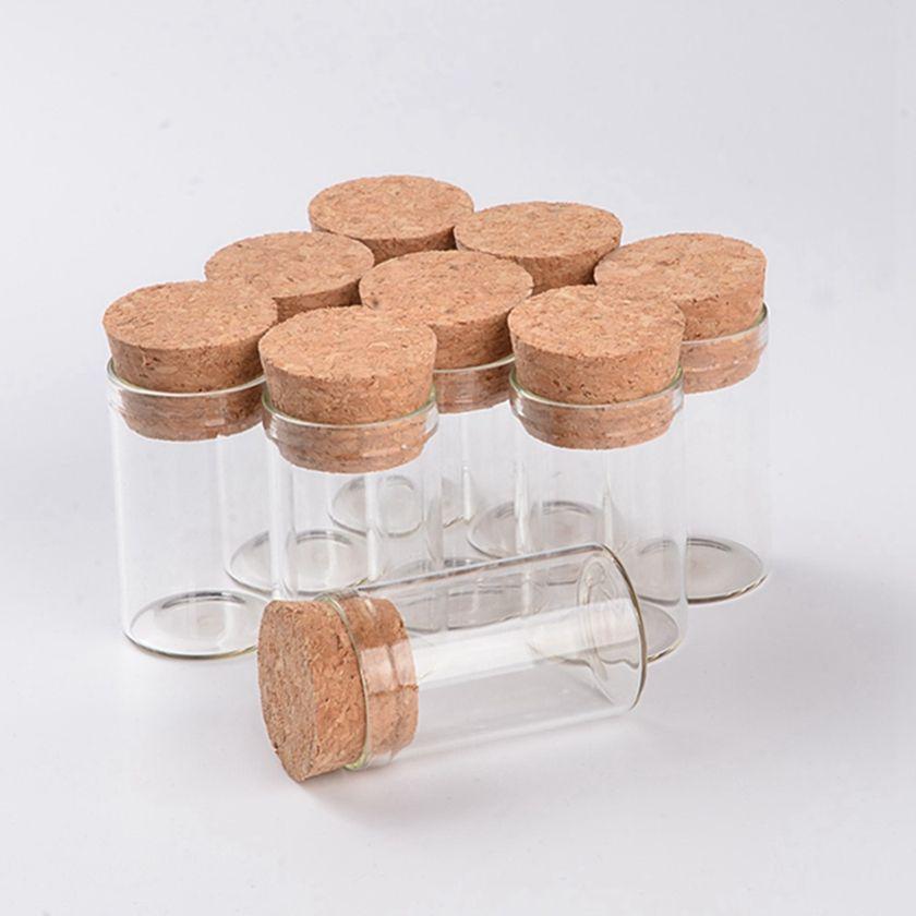Petit 10ml Tube à essai avec Bouchonnières Bouteilles en verre Spice Jars Container 24 * 40mm bricolage Craft Transparent Verre Bouteille droite HHA1550