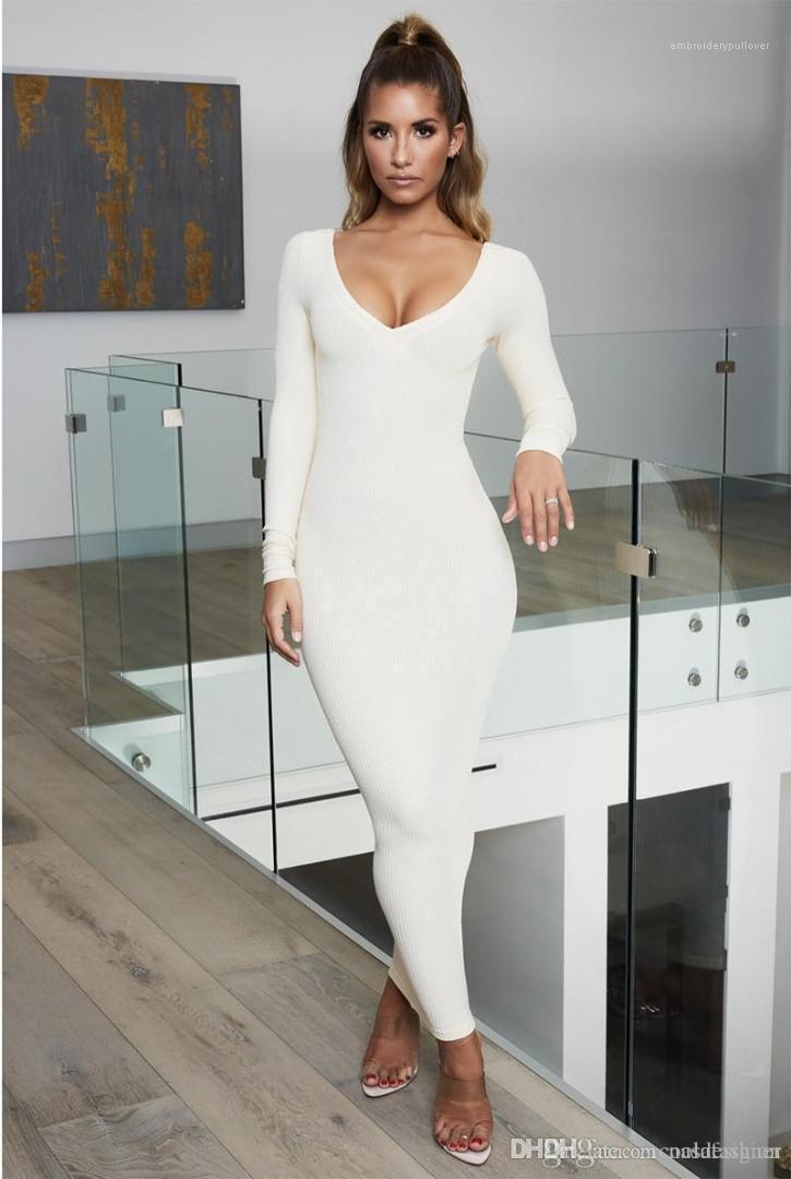 Bodycon платье Sexy Ladies Щитовые с длинным рукавом Одежда Женской Весна Чистого цвета платье Модельер V шеи