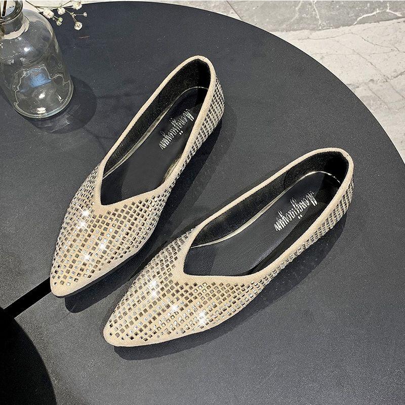 Été doux Chaussures Ballerine Femme Flats 2020 Mode Toe Rhinestone Pointu Chaussures plates Casual Femmes Mocassins Bateau