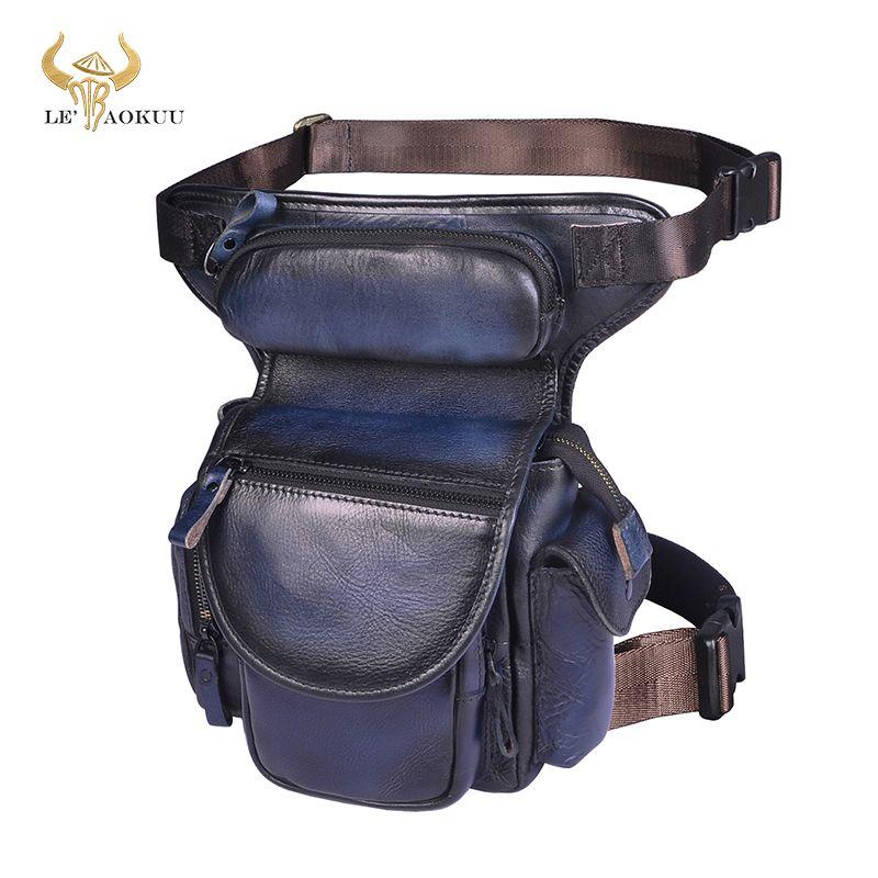Качество натуральной кожи мужчин Дизайн вскользь Messenger плеча Sling сумка Мода синий Фанни Пояс пакет падения Leg сумка 3109