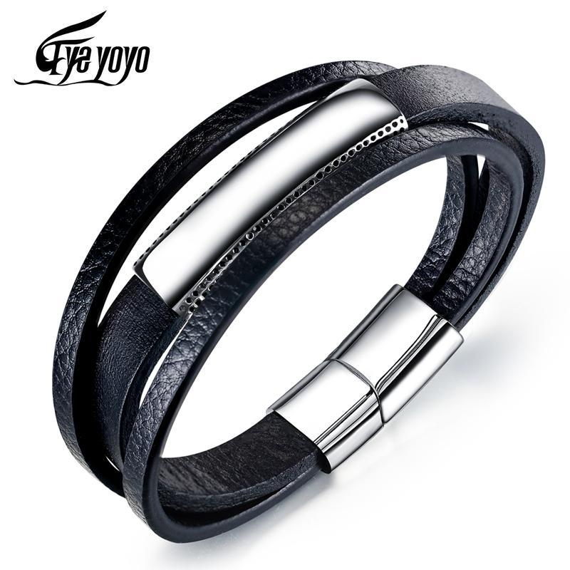 EyeYoYo 21.5cm Простой черный Три слоя из натуральной кожи браслет Мужской