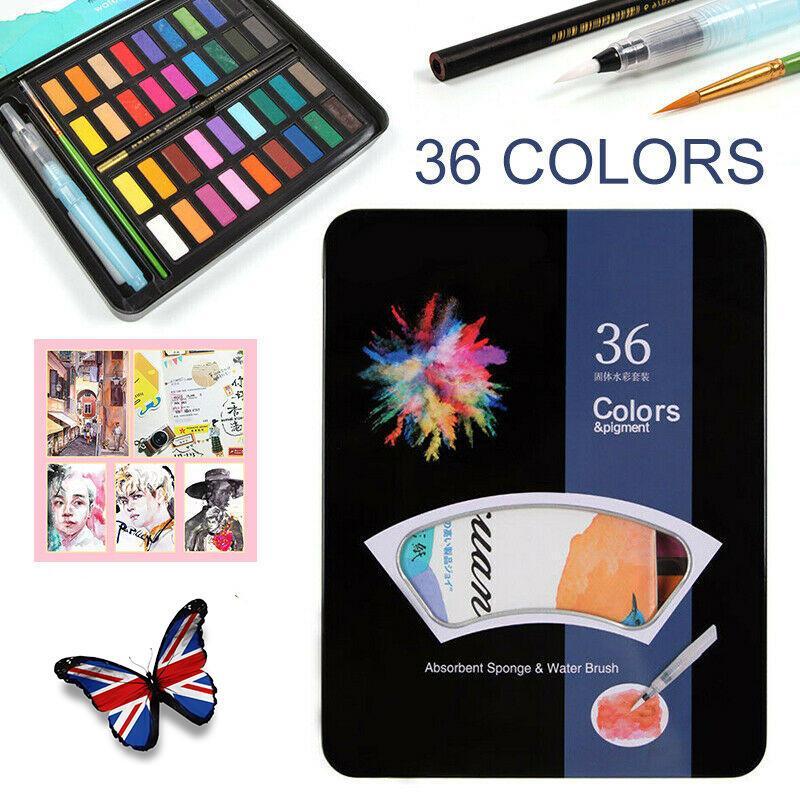 Профессиональный 36 Акварельные краски набор кистей Artist крася ручки цвет воды