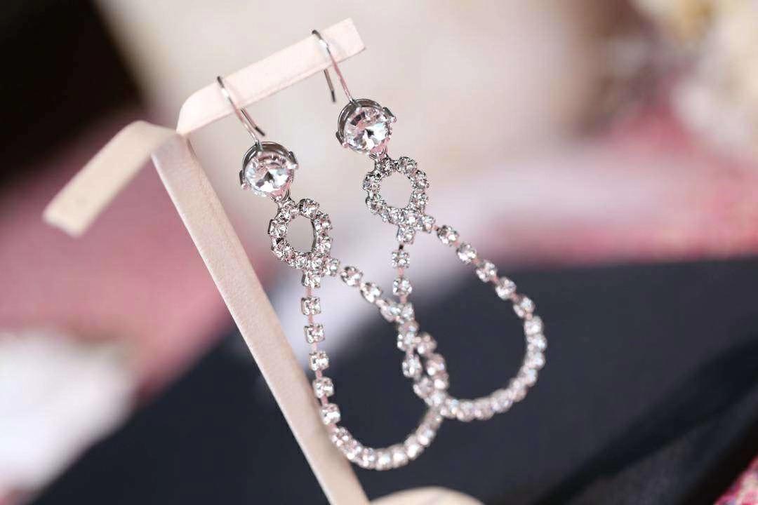 Luxo Clássico Designer S925 Sterling Silver Redonda completa Cristal Duplo Círculo Charme Dangle Brincos para Mulheres Jóias