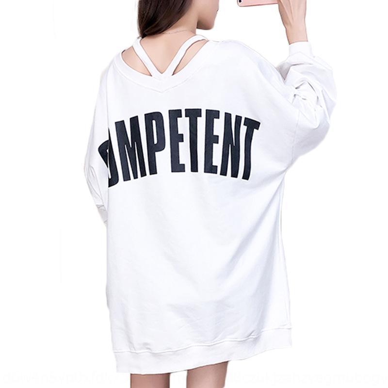 2020 nuove donne allentate primavera studente scollo a V grandi dimensioni Top maglione rosso superiore alla moda cec pigro stile coreano stile di media lunghezza IYZui