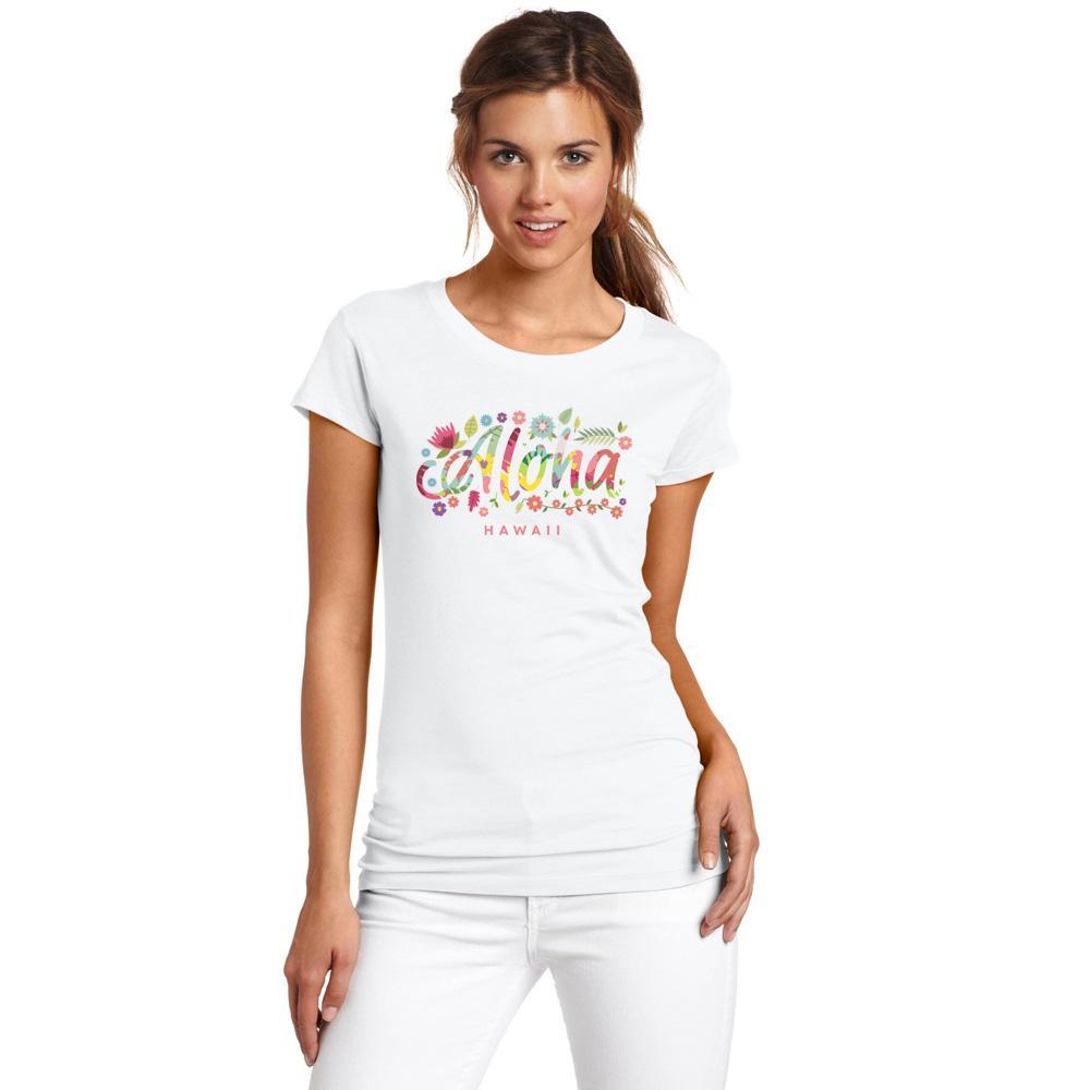Цветок Письма ГАВАЙИ тенниска для женщин New Оригинальность Повседневная женщина тенниски хлопка хорошего качества Топы Бренд Рубашки