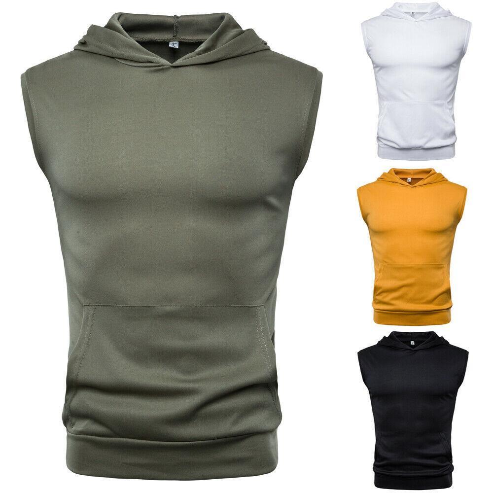 Мужские Muscle Hoodie топы без рукавов Бодибилдинг Центр тренировки Фитнес Рубашки Vest Masculina Топы Мужская одежда MX200815