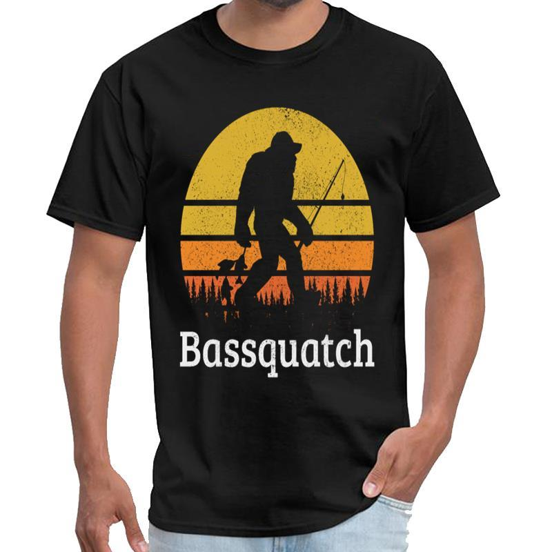 Печатный Bassquatch - Bass Fishing Bigfoot Fisherman подарков rhude тенниска мужская тенниска хлопка большой размер S ~ 5xl верхний тройник