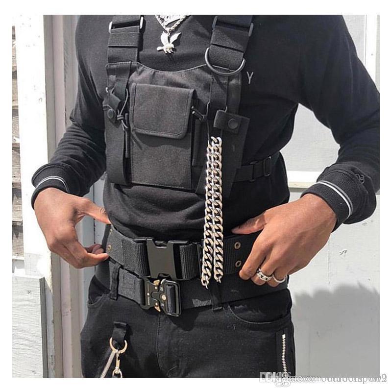 Nylon Adjustable Black Vest Hip Hop Tactical Chest Bag Streetwear Functional Harness Chest Rig Kanye Waist Pack Fashion