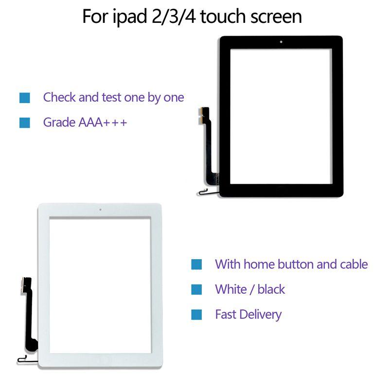 Touchscreen-Qualität für iPad 2/3/4 Digitizer Vorderer Ersatzglasbaugruppe mit Home-Taste