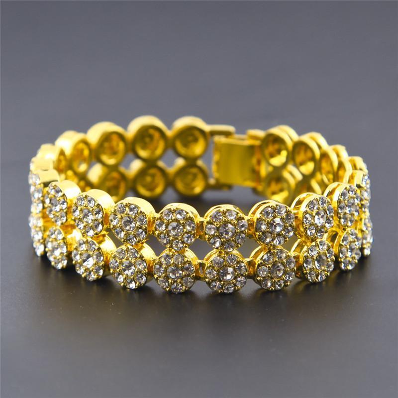 2 صفوف الهيب هوب شارع أساور الرجال سوار الماس مع الذهب 18K مطلي المد والجزر العلامة التجارية التيتانيوم المقاوم للصدأ سوار