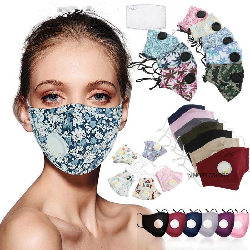 Fashion Designer Coton Masques visage avec PM2,5 Valve Filtre fente Cartoon Housse lavable Reusble protection des adultes / enfants Masques Visage FY9140