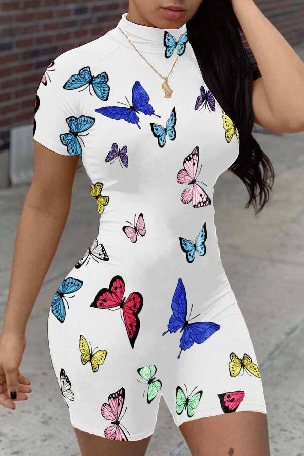Sexy Women Jumpsuit Designer Slim Butterfly Printed Stand-up Collar Short Sleeve Onesies Ladies New Fashion Tight Romper New 809