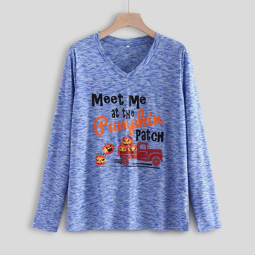 Tops camiseta de manga larga de Halloween Pumpking de alta calidad jersey de cuello redondo para mujeres