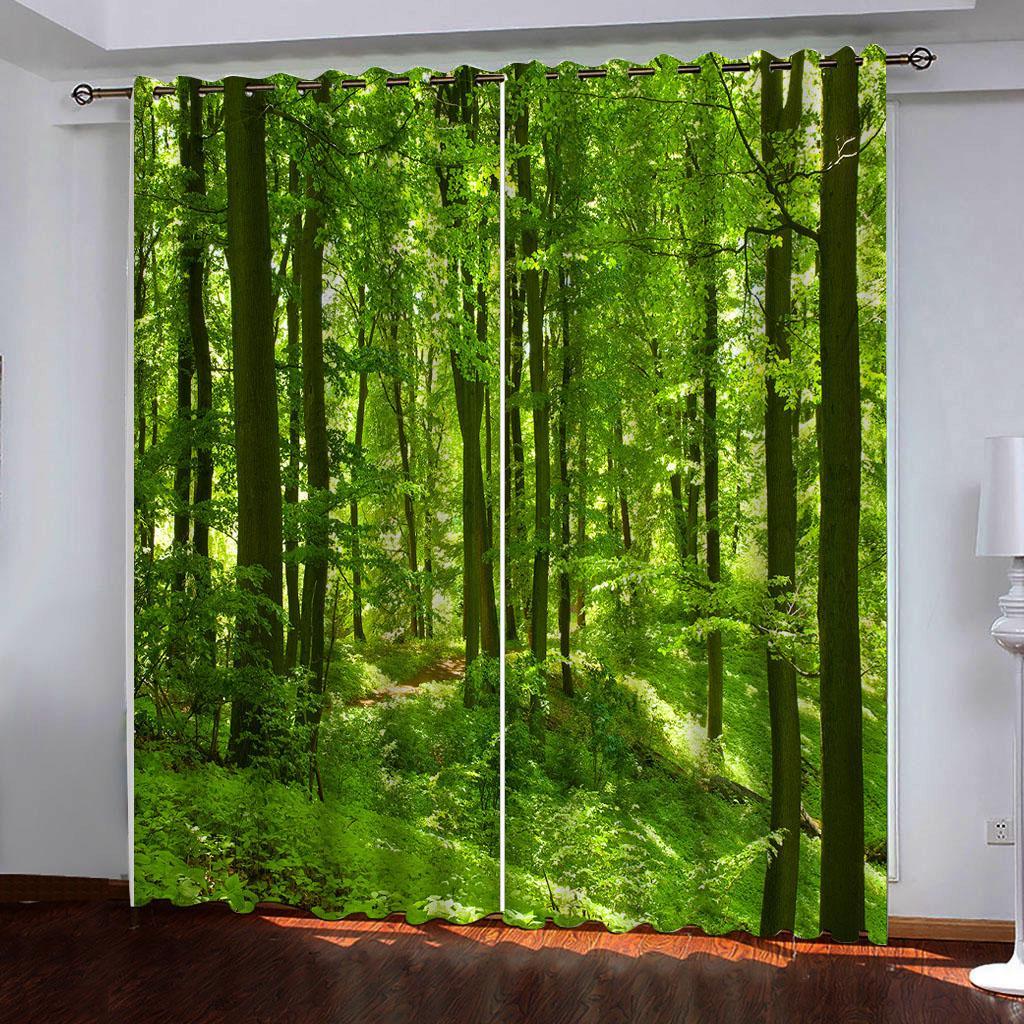 Naturaleza verde del bosque personalizada apagón cortinas de salón cocina dormitorio sala de cortinas 3d cortina de ventana de artículos para el hogar