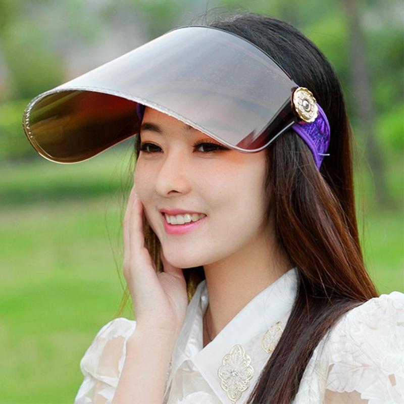 Nuevo verano Sombrero de sol al aire libre de protección solar sombrero de la playa de las señoras a caballo anti-UV para Visor Vacía Top Stop The Flying Spit