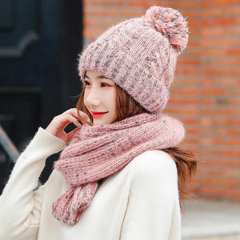 Doce Ladies Inverno Feminino Hat Scarf Sólidos cor quente malha de lã Cap Moda Outono Quente Lã Bola Mulheres Cap Xaile mPHX #