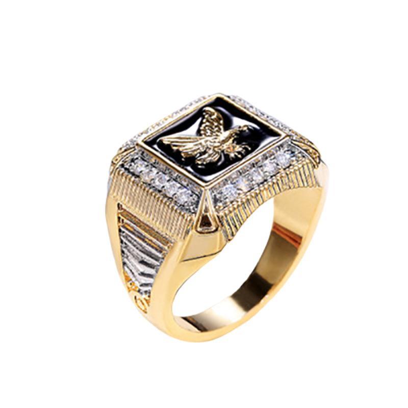 Новый Vintage Gold Цвет Morgan Eagle Кольцо для мужчин Мотоцикл партии Паровой Punk Rock Hip Hop Долларового Rings Jewelry