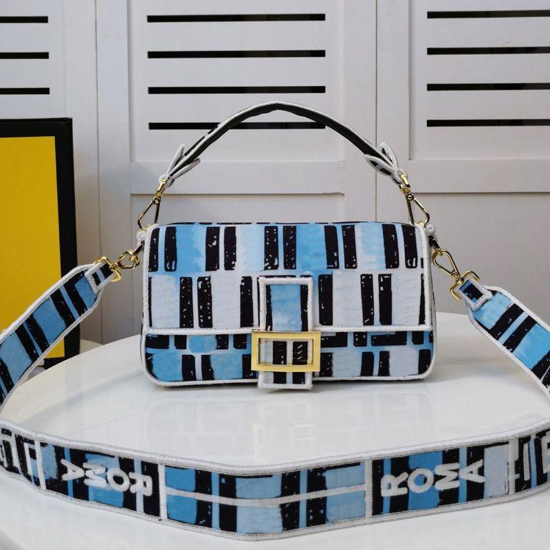 바게뜨 가방 어깨 가방 패션 가방 클래식 더블 패브릭 고지 체인 어깨 벨트 캔버스 패치 워크 색상 고품질 지갑