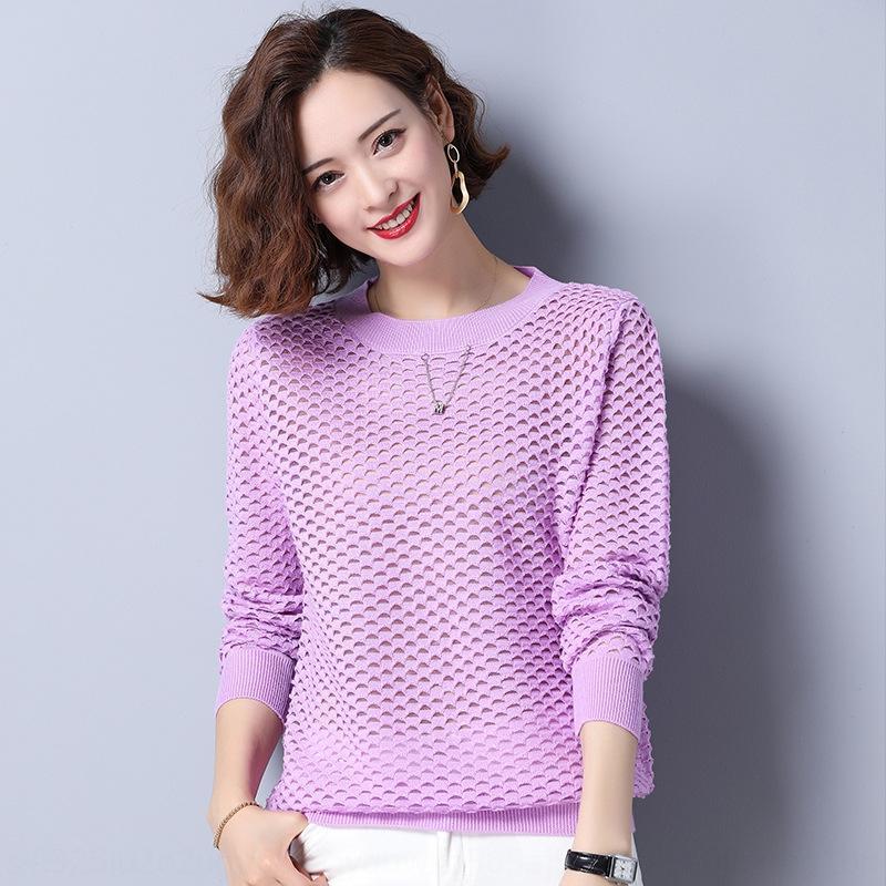 camisa p0TJX camisa nova malha Top rodada coreano base de buraco no pescoço 2020 outono das mulheres top início das mulheres 08117 Jd4UK