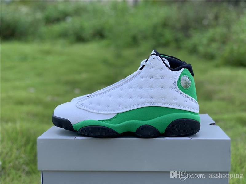 2020 Аутентичных 13 Лаки Зеленый Человек Баскетбол обувь Белых Черного 3M Reflective Real Carbon Fiber тапок Спорт с оригинальной коробкой US 7-13