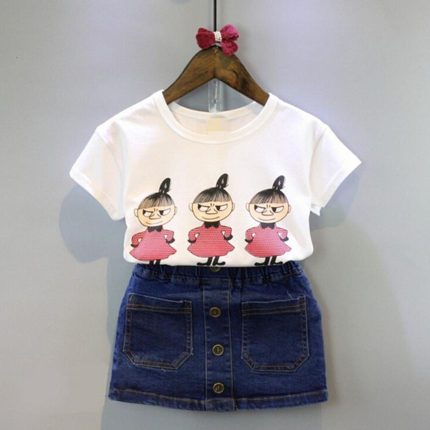 Baby Kids Girls Clothing Printing Short Sleeve T-shirt+Jeans Skirt Set Outfits casual interesting pattern adorable July24