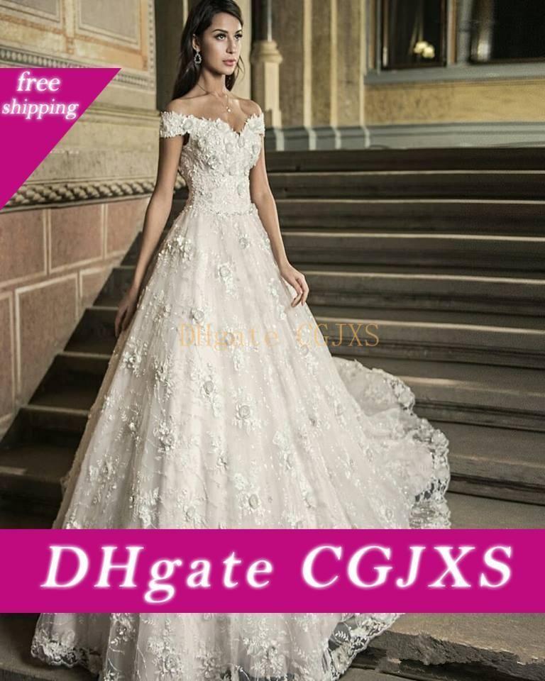 Hombro del A -Line vestidos de boda con 3D Sweep floral Vestidos de novia Tren largo ata para arriba detrás Vestidos de matrimonio Vintage Garden