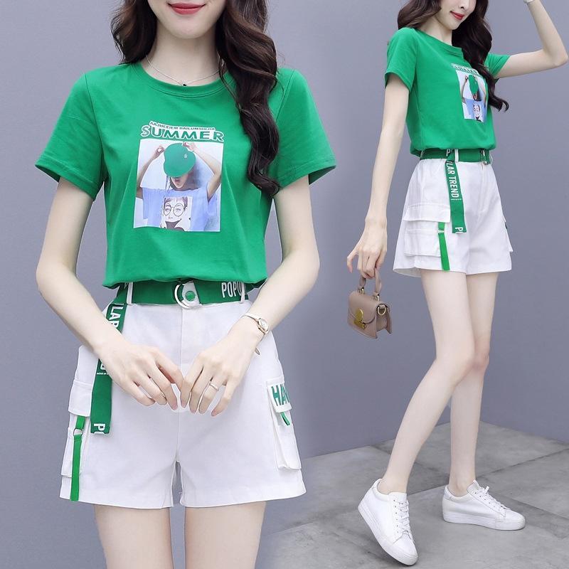 mJi2D шорты женской моды в западном стиле лета темперамент молодых высокий короткий рукав случайные двухкусочные брюки костюм шорты брюки набор костюм Ф.А.
