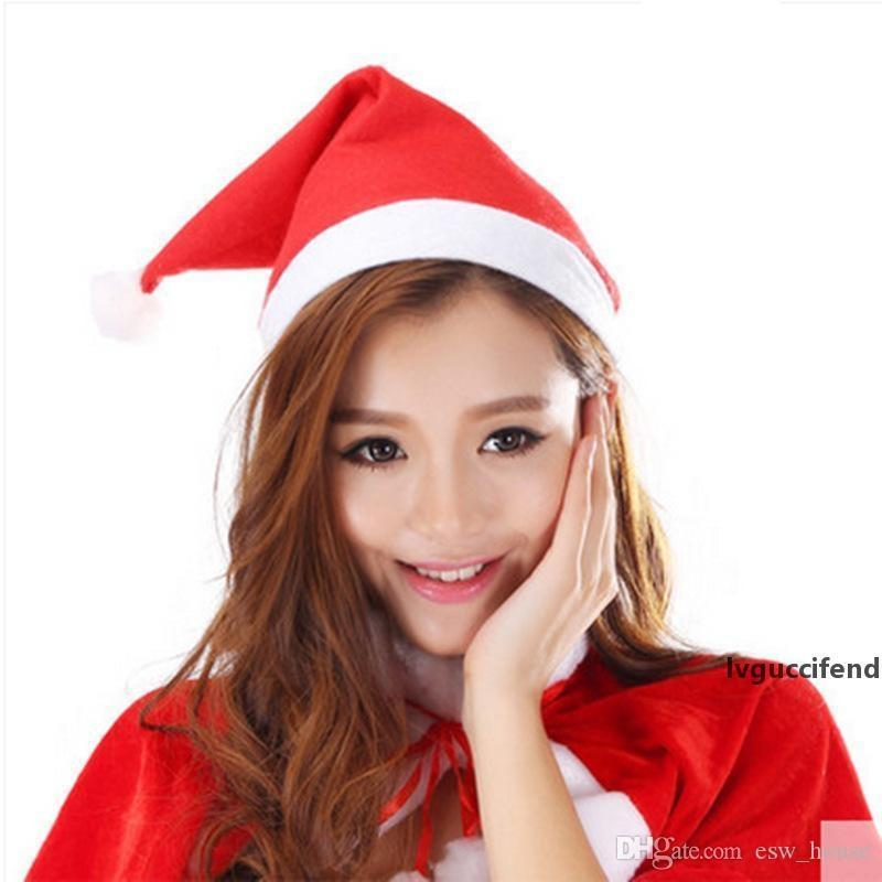 Xmas adulti Babbo Natale Bambini Natale Partito cappello di Babbo Natale cappelli rossi Costume Hat Cospaly Decoration sqvd zlstore007