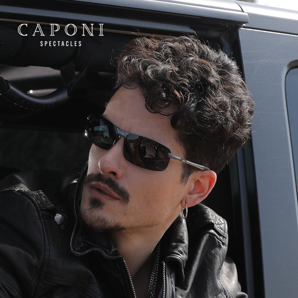 CAPONI 2020 Marco de las gafas de sol polarizadas de los hombres Día de conducción Sombras: Hombre protección UV400 de aluminio de los hombres de los vidrios de Sun CP3043 GVYM