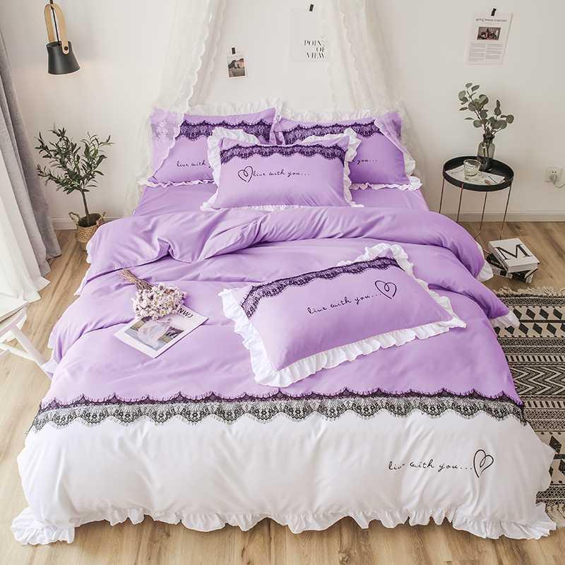 Reactive Printing 4 Pcs Bedding Set Duvet Cover Pillowcase Bed Skirt Bed Linen Sweat Heart Luxury Love Warm 1.5m 1.8m 2.0m