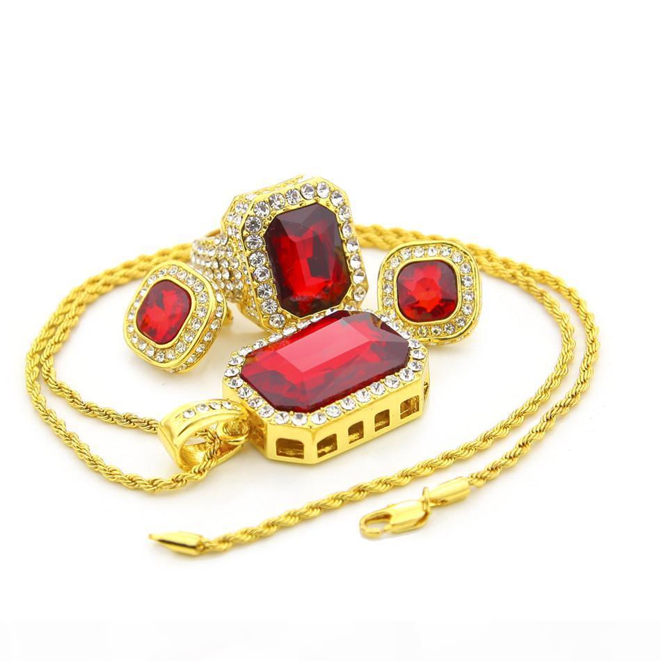 Hip Hop Homens da jóia jogo da cor do ouro para fora congelado strass Praça de cristal Anéis Com Brinco Colar Pingente 3pcs Set