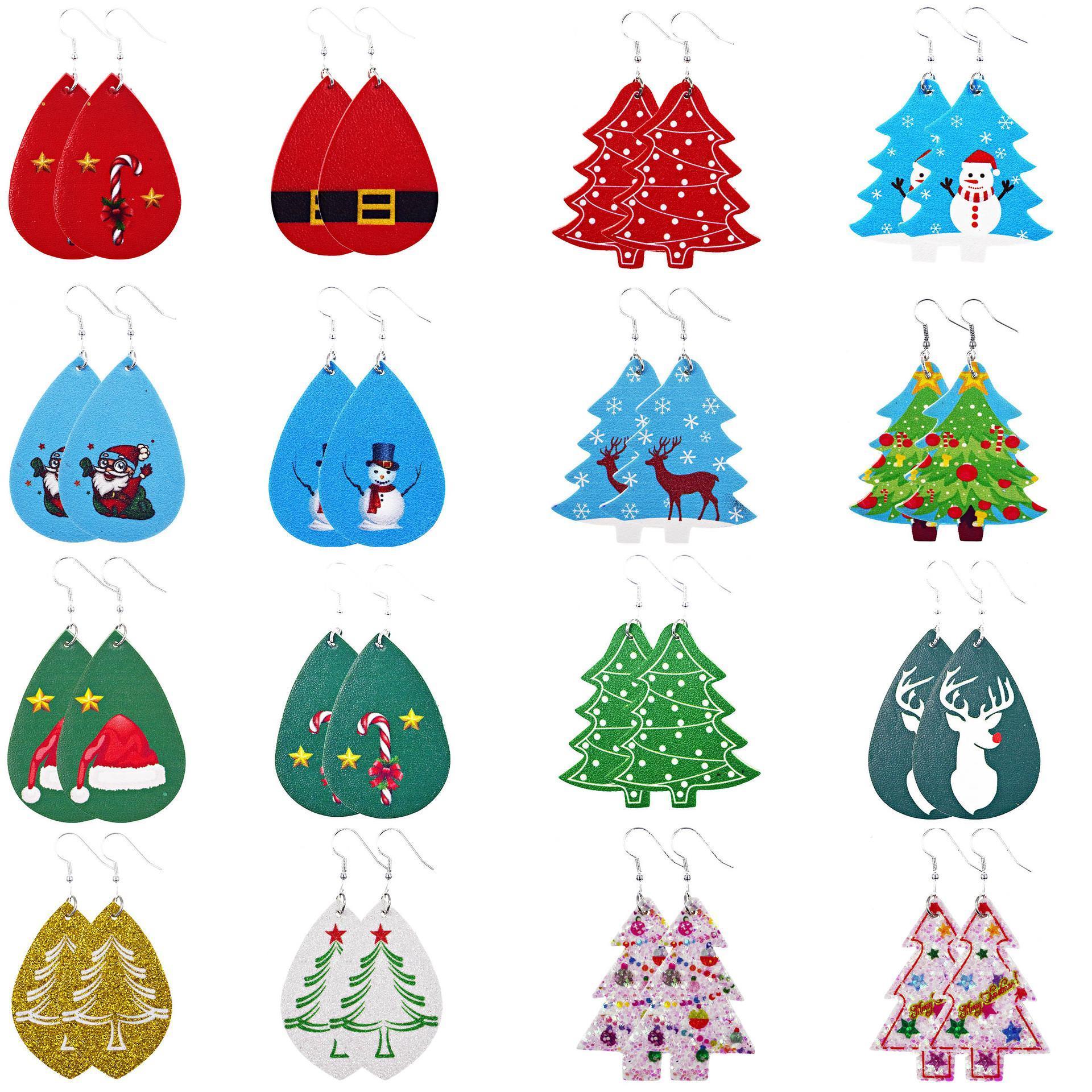 DHA716 16 Stiller Lady Moda Takı için Kadınlar Noel Küpe Hafif Sahte Deri Dangle Küpe Gözyaşı Yaprak Petal Damla Küpe