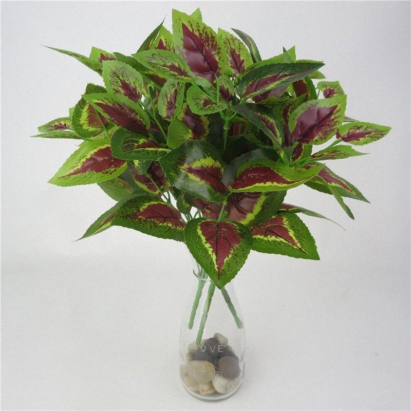 simulazione casa foglie di basilico Decorazione del salone piccolo mazzo di fiori finti di plastica di simulazione pianta decorazione della casa h3kM #