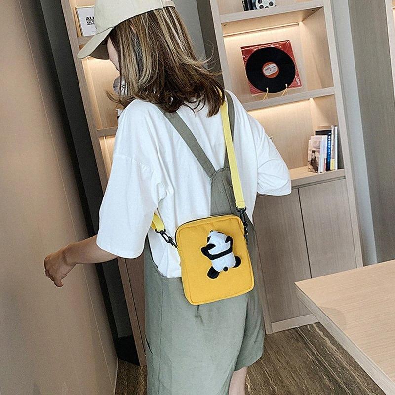 giallo sveglio del panda di moda piccola borsa donna quadrato di spalla delle donne Carino studente borsa di tela Versatile Messenger Shoulder EwTc #
