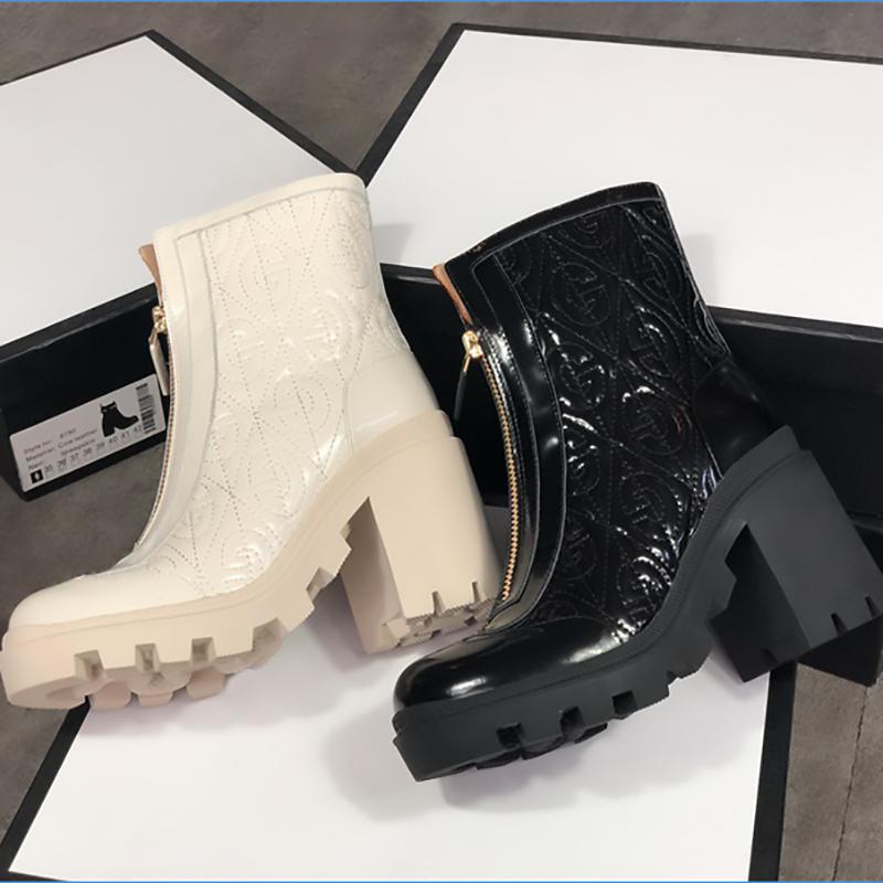 Femmes Cuir Martin Bottes Noir Blanc Bottines Mode Chunky caoutchouc 100% réel Chaussures Fold en cuir d'hiver bottillons avec fermeture éclair Taille EU42