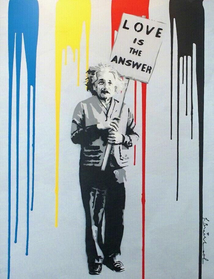 Mr Brainwash art Graffiti Einstein L'amour est la réponse 02 décorations huile peint à la main Impression HD Peinture Sur Toile Wall Art Toile 200809