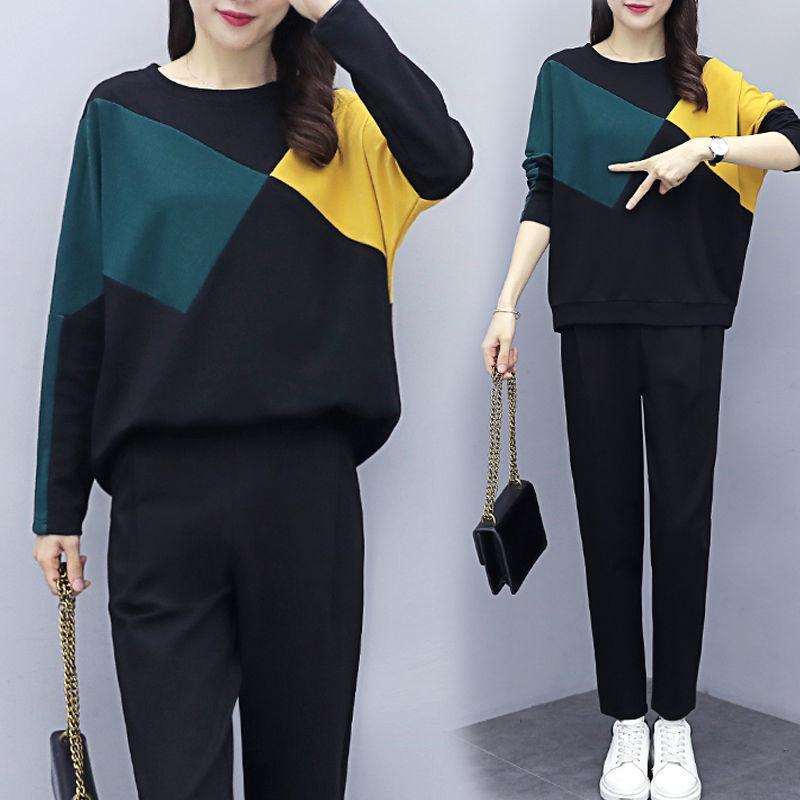 kadınlar takım elbise ter için Artı Boyut Yaz Kadın Takımı uzun Spor Suit patchwork o-boyun üst + pantolon 2 parçalı set eşofman sleeve