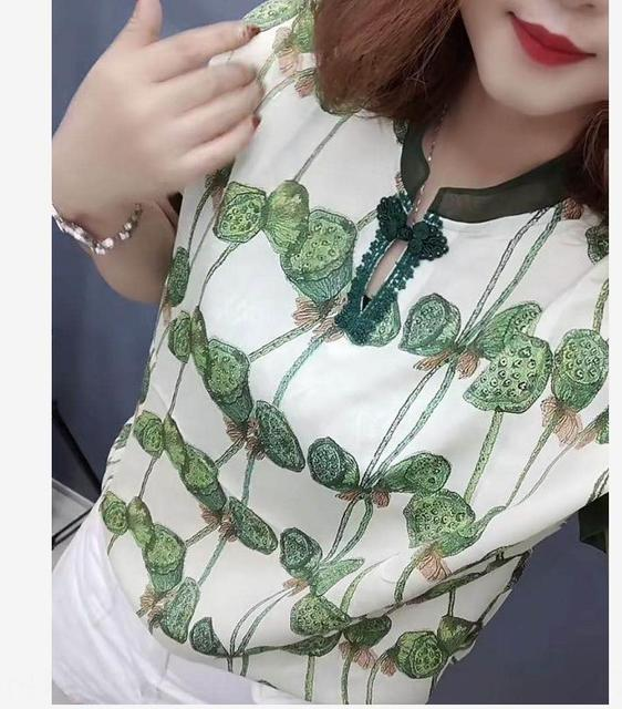 7tqUE impreso verano camisa de las mujeres 2020 Top y nueva stylestand Cuello chino superior de seda de morera de seda flojo ocasional de manga corta