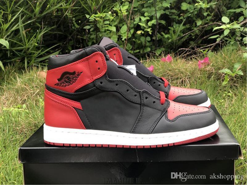2020 Аутентичные 1 High OG Banned каблука С X Баскетбол обувь Мужчины Черный Varsity Red White 2011 Release Самое лучшее качество спорта с оригинальной коробке