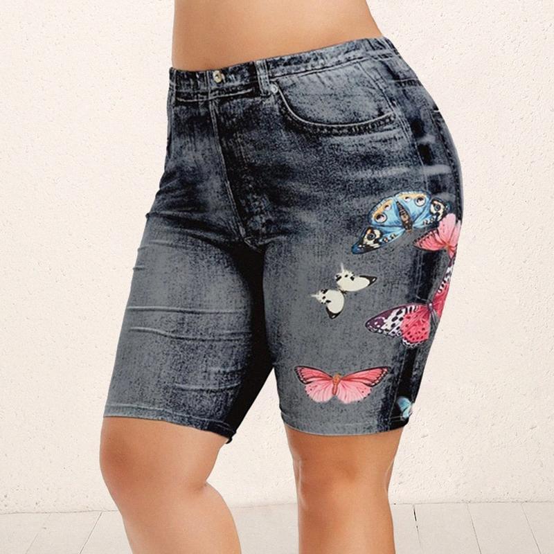Imprimer Plus Size Shorts Leggings été Faux papillon Denim Ladies Shorts d'été imprimé floral taille haute Femme AB15 #