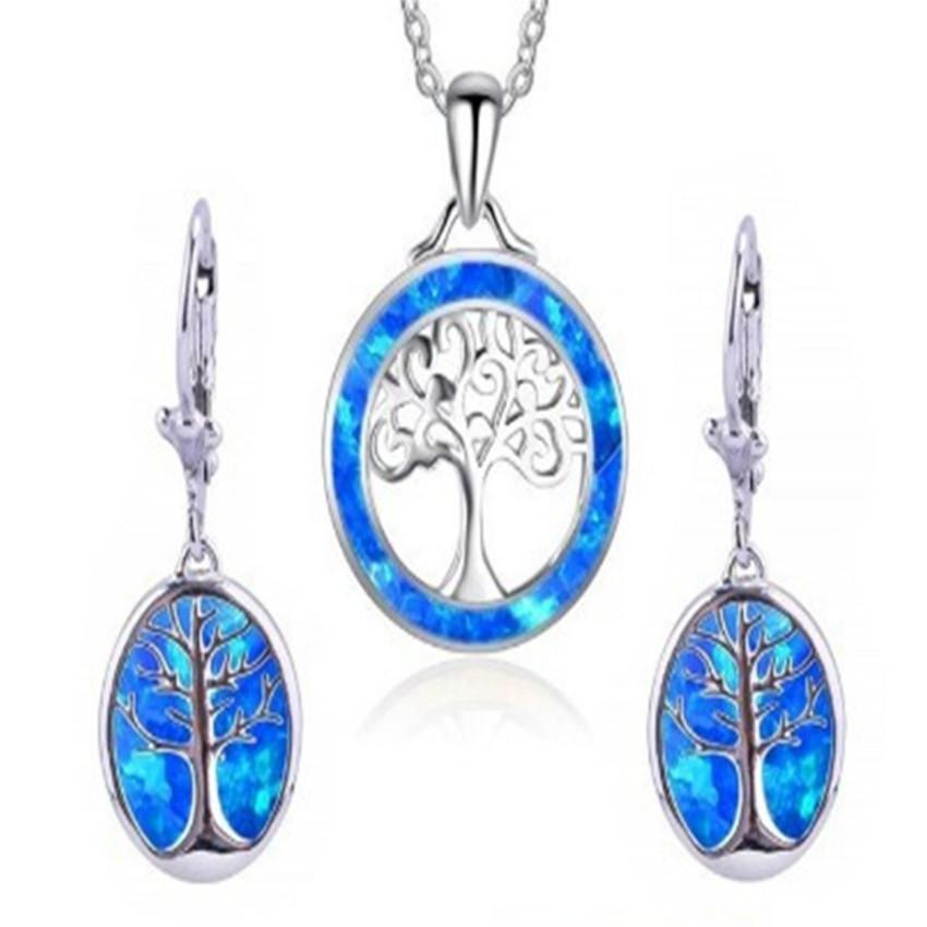 10 Set molti colori Opalite Opal Albero della Vita orecchini di pendente collana per l'insieme d'argento placcato Donne